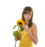 女孩俏丽的向日葵 库存图片