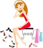 女孩俏丽的鞋店购物 免版税库存照片