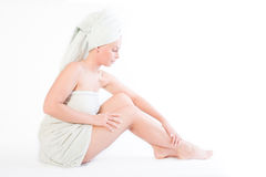 女孩修饰系列坐的健康 免版税库存照片