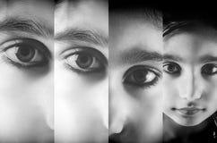 女孩儿童特写镜头倍数面孔 免版税库存图片