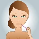 女孩光泽嘴唇放置 向量例证