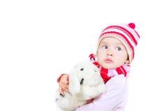 女孩兔子小孩玩具 图库摄影