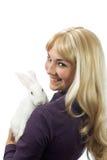 女孩兔子白色 免版税库存图片