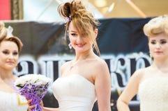 女孩兢争者婚礼发型 免版税库存照片