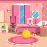 女孩全部变粉红色卧室内部 免版税库存照片