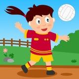 女孩公园排球 免版税库存照片