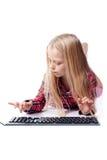 女孩关键董事会一点写道 免版税库存图片