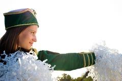 女孩军乐队女队长姿势 库存图片