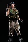 女孩军事性感 库存照片