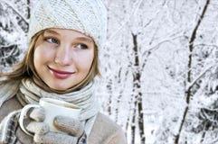 女孩冬天 库存照片