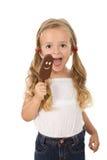 女孩冰淇凌一点 免版税图库摄影