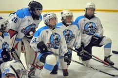 女孩冰球比赛 免版税库存照片