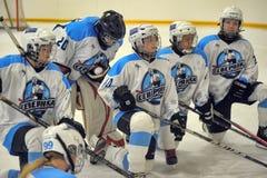 女孩冰球比赛 库存图片