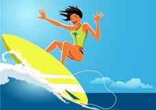 女孩冲浪者 库存照片