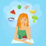 女孩决定开始饮食 Want吃健康食物 免版税库存图片