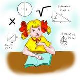 女孩决定数学 免版税图库摄影
