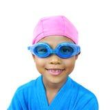 女孩准备好的游泳年轻人 免版税图库摄影