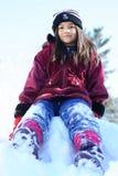 女孩准备好的灿烂的冬天 库存照片