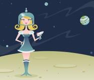 女孩减速火箭的空间 库存照片