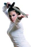 女孩剑 免版税库存图片