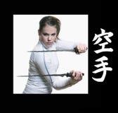 女孩剑 库存照片
