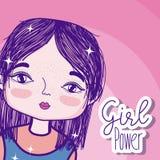 女孩力量动画片 库存例证