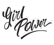 女孩力量措辞单色传染媒介例证 库存例证