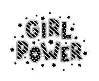 女孩力量 与样式和花的手字法 黑色白色 单色 图库摄影