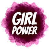 女孩力量 在数字式水彩背景的女权口号 库存照片