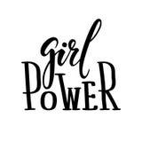 女孩力量 手拉的书法和刷子笔字法 库存图片