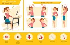 女孩办公室综合症状信息图表和舒展锻炼 库存图片