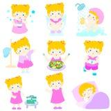 女孩动画片的健康卫生学 库存照片