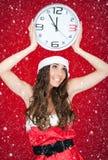 女孩午夜圣诞老人下雪 免版税库存照片