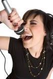 女孩卡拉OK演唱唱歌 免版税库存图片