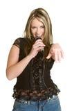 女孩卡拉OK演唱唱歌 库存照片