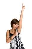 女孩卡拉OK演唱 免版税库存照片