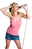 女孩卡拉OK演唱 库存图片