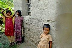 女孩印地安人村庄 库存图片