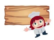 女孩厨师提供食物菜单传染媒介例证 免版税库存照片