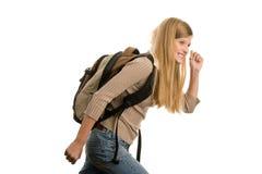 女孩去的学校 免版税图库摄影