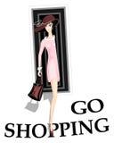 女孩去购物 免版税库存图片