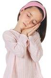 女孩可爱休眠 免版税库存照片