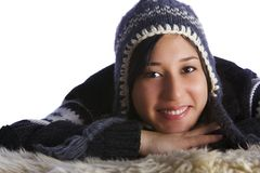 女孩可爱的冬天 免版税库存图片