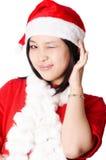 女孩可爱的圣诞老人 库存照片