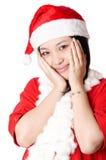 女孩可爱的圣诞老人 库存图片