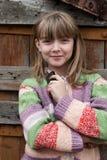 女孩可爱的村庄年轻人 库存图片