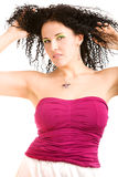 女孩可爱的紫红色顶层 免版税库存图片