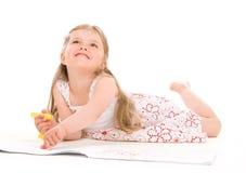 女孩可爱的绘画 免版税库存照片