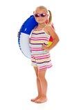 女孩可膨胀的小的环形太阳镜 图库摄影