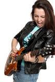 女孩吉他作用 免版税库存照片
